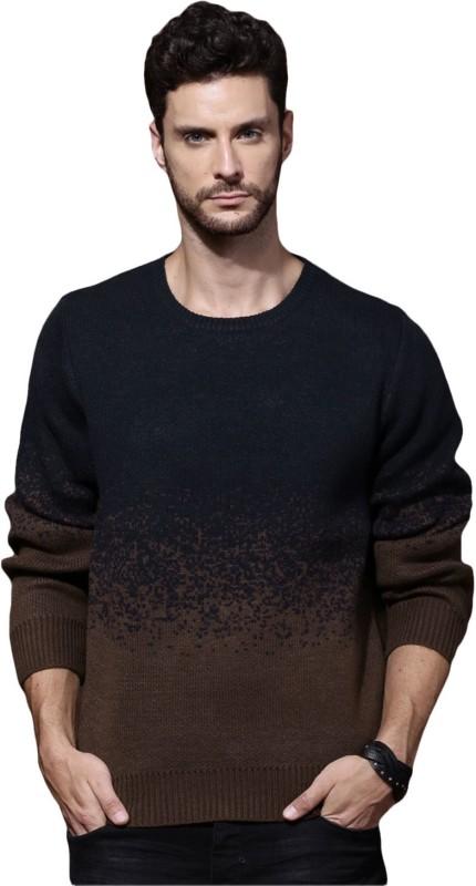 Roadster Solid Round Neck Casual Men Dark Blue, Brown Sweater
