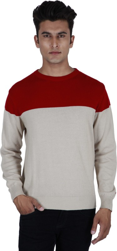 Provogue Solid Round Neck Casual Men Red, Grey Sweater