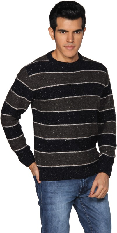 Provogue Striped Round Neck Casual Men Grey Sweater