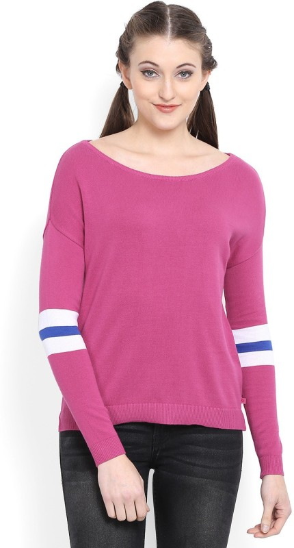 United Colors of Benetton Self Design Round Neck Casual Women Pink, White Sweater