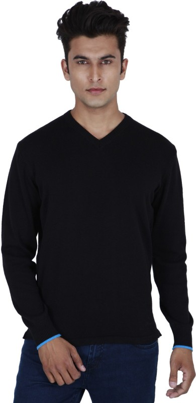 Provogue Solid V-neck Casual Men Black Sweater