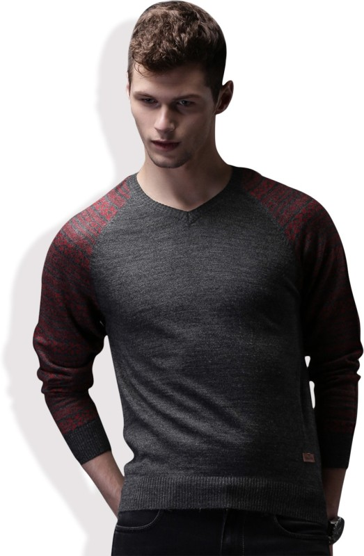 WROGN Self Design V-neck Casual Men Grey Sweater