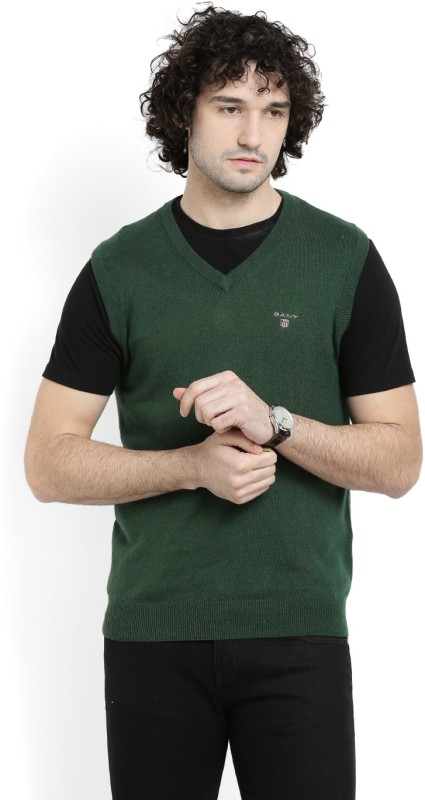 Gant Solid V-neck Casual Men Green Sweater