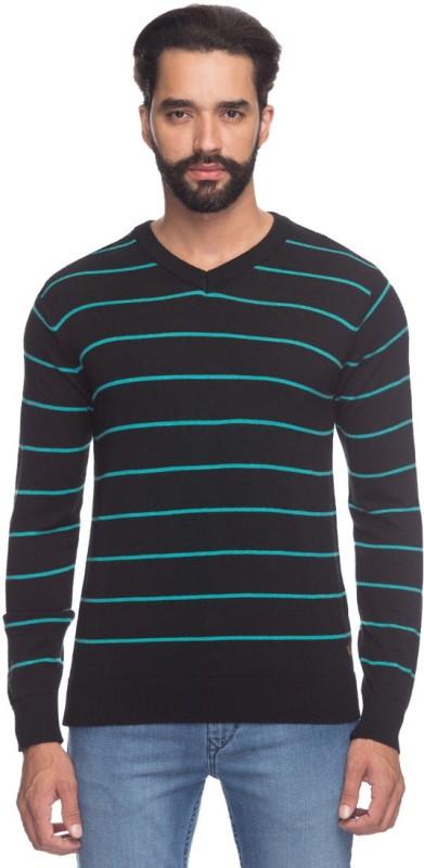 Raymond Striped V-neck Men Black Sweater