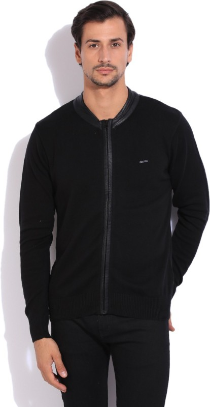 Flying Machine Solid Casual Men Black Sweater