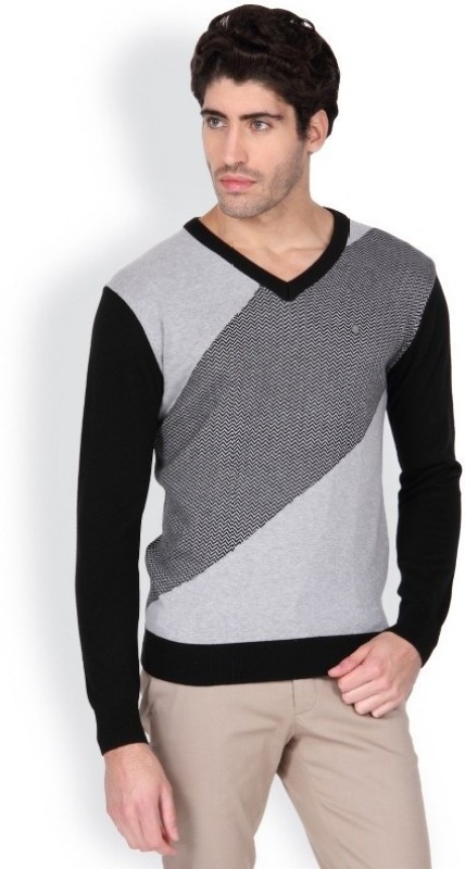 Blackberrys Solid V-neck Men Black Sweater