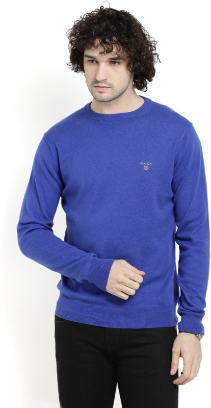 Gant Solid Crew Neck Casual Men Blue Sweater