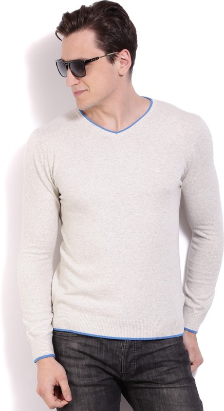 United Colors of Benetton Solid V-neck Casual Men Beige Sweater