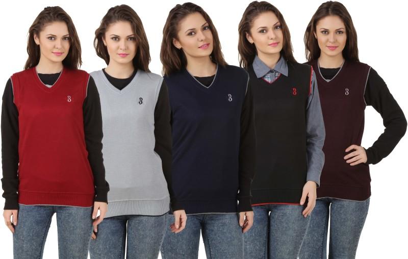 Eprilla Solid V-neck Formal Women Multicolor Sweater
