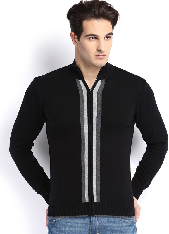 Arrow New York Solid Round Neck Casual Men Black Sweater