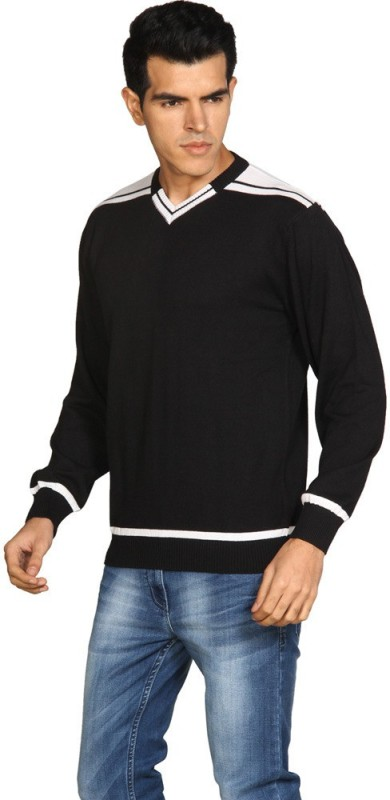Provogue Solid V-neck Casual Men Black Sweater