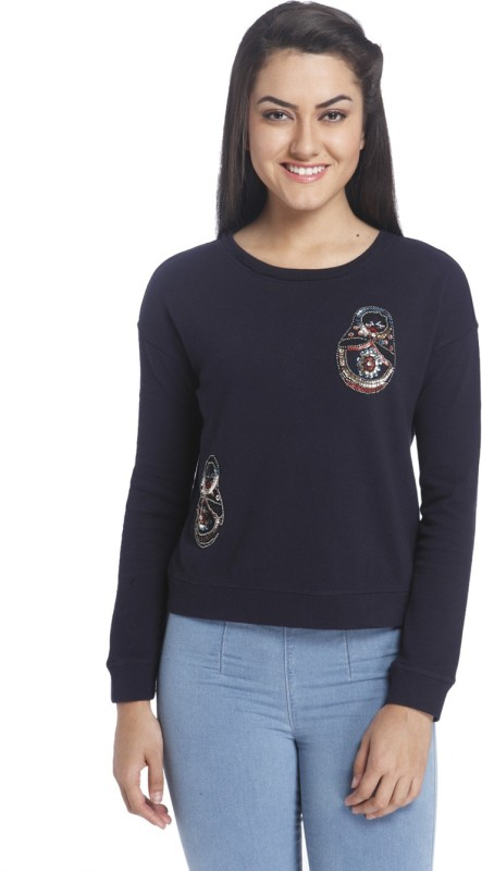 Only Full Sleeve Embellished Womens Sweatshirt