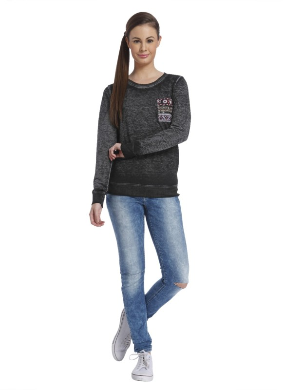 Only Full Sleeve Solid Womens Sweatshirt