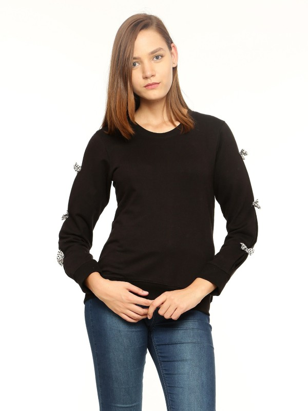 Vvoguish Full Sleeve Solid Womens Sweatshirt