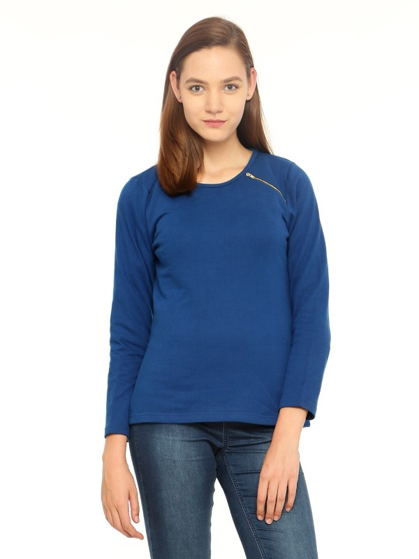 Vvoguish Full Sleeve Solid Womens Sweatshirt