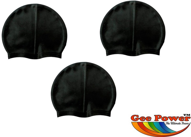 Gee Power Imported Swimming Cap(Black, Pack of 3)