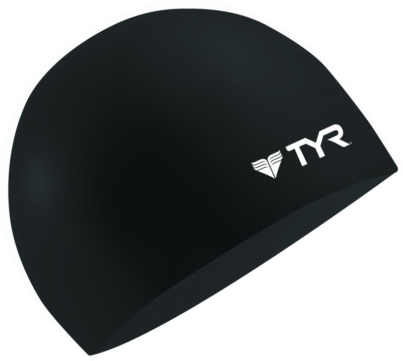 TYR Wrinkle Free Silicone Swimming Cap(Black)
