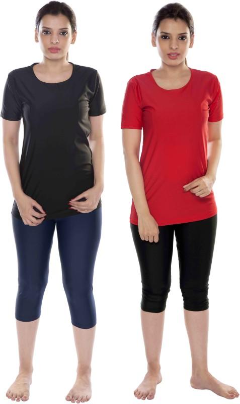 Carrel Round Neck T shirt & Capri Swimwear Combo-2 Solid Women's Swimsuit