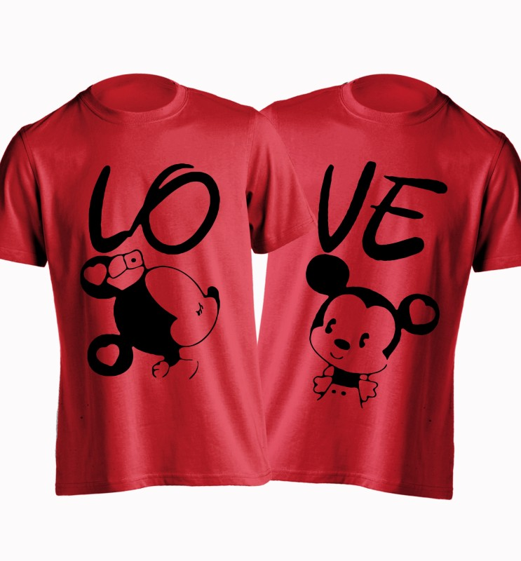 Young Trendz Printed Women's Round Neck Red T-Shirt(Pack of 2)