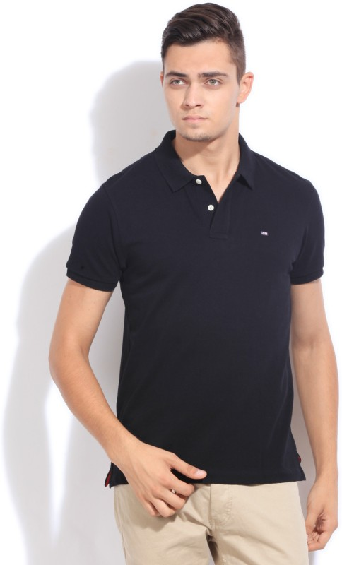 Arrow Sports Solid Mens Polo Neck Black T-Shirt