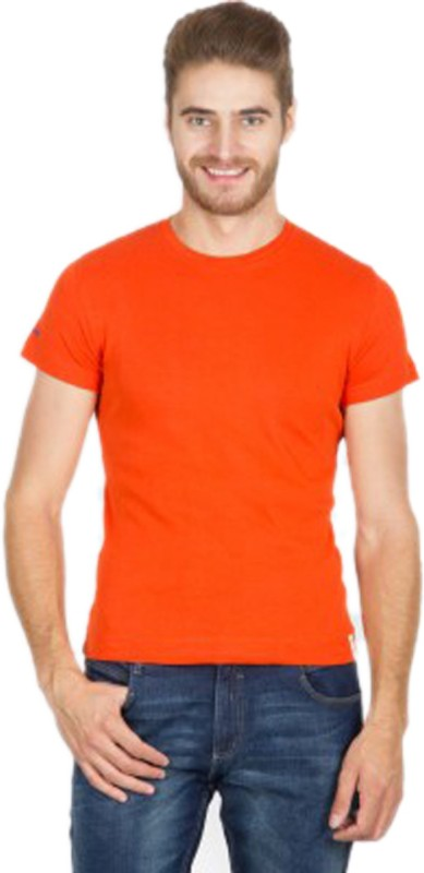 Funky Guys Solid Men's Round Neck Orange T-Shirt