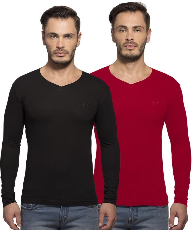 Maniac Solid Men's V-neck Red, Black T-Shirt(Pack of 2)