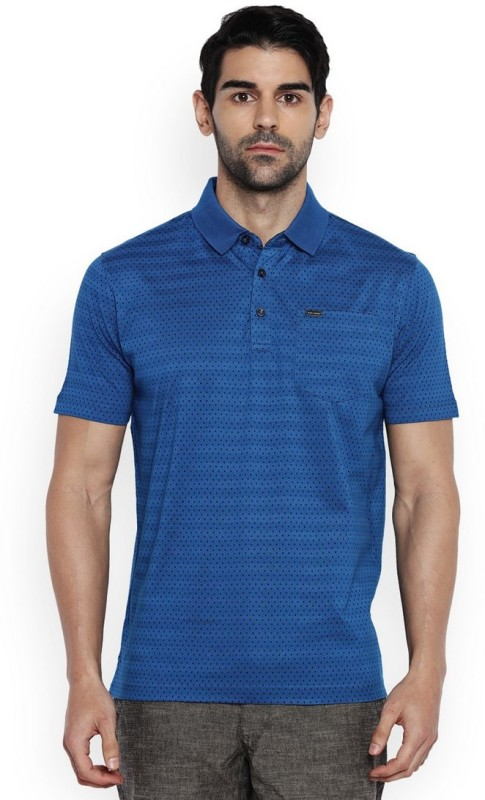 Park Avenue Printed Mens Polo Neck Blue T-Shirt