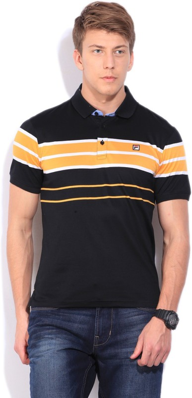 Fila Striped Mens Polo Neck Black T-Shirt
