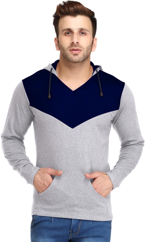 Leana Solid Men's Hooded Blue, Grey T-Shirt