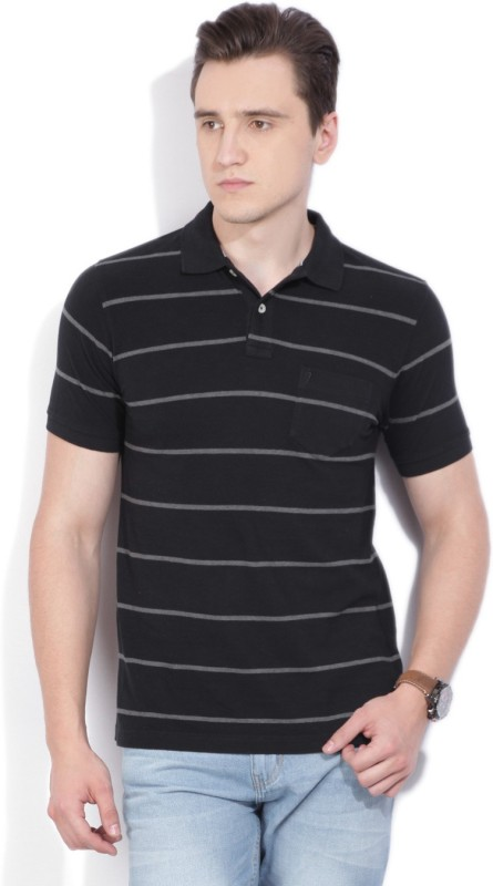 Indian Terrain Striped Mens Polo Neck Black T-Shirt