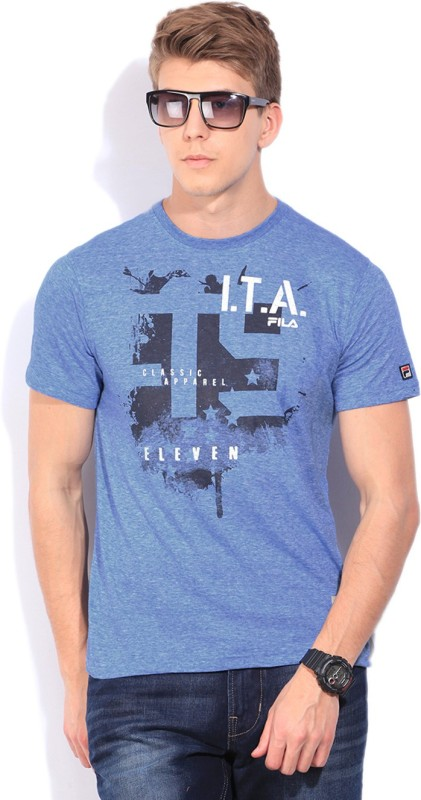 Fila Printed Mens Round Neck Black T-Shirt