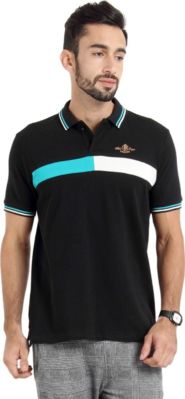Proline Self Design Mens Polo Neck Black T-Shirt