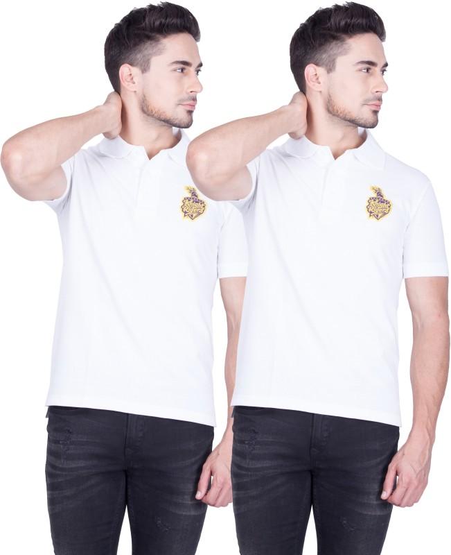 Kolkata Knight Riders Solid Men's Polo Neck White T-Shirt(Pack of 2)