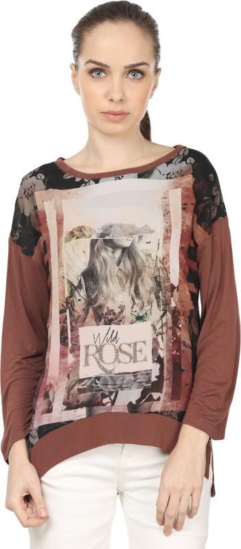 Raw Designs Printed Women's Round Neck Beige, Brown T-Shirt