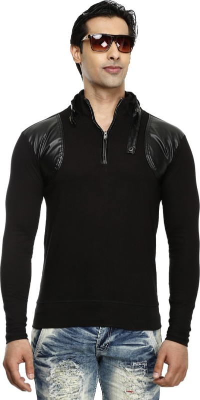 Tees Collection Solid Men's Turtle Neck Black T-Shirt