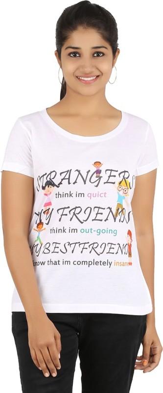 Recca Printed Women's Round Neck White T-Shirt