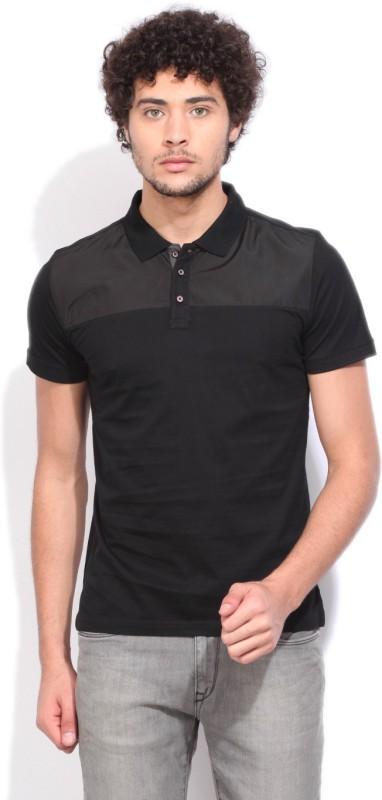 V.Dot by Van Heusen Solid Mens Polo Neck Black T-Shirt
