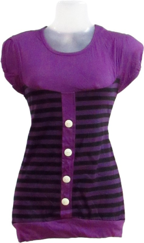 Revinfashions Solid Women Round Neck Purple T-Shirt