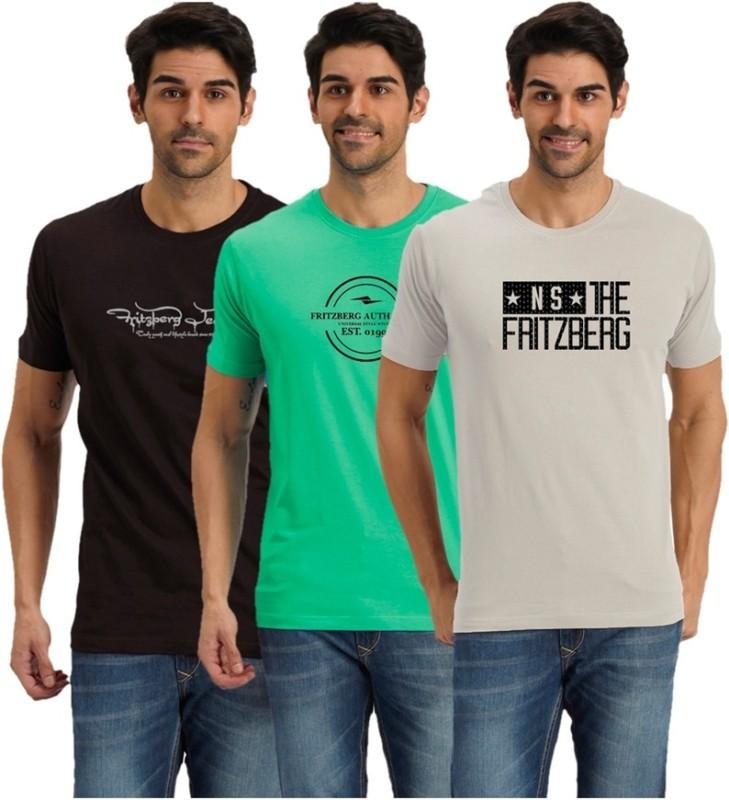 Fritzberg Solid Men's Round Neck Multicolor T-Shirt(Pack of 3)