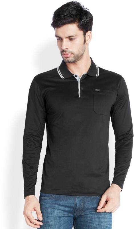 Park Avenue Solid Mens Flap Collar Neck Black T-Shirt