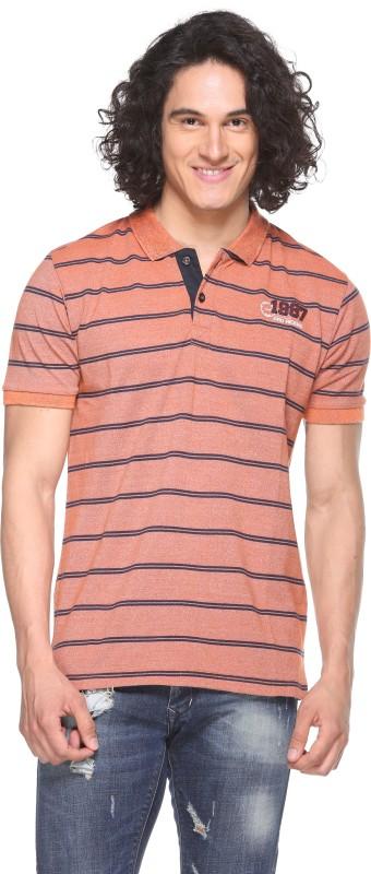 Pro Riders Self Design Men's Flap Collar Neck Orange T-Shirt