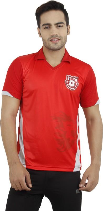 T10 Sports Printed Men's Mandarin Collar Red T-Shirt