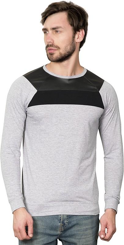 Maniac Solid Men's Round Neck Black, Grey T-Shirt