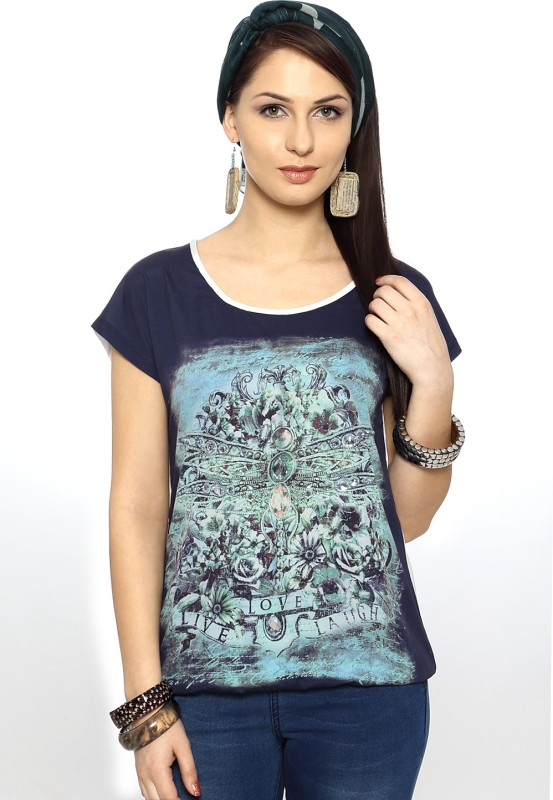 SF Jeans by Pantaloons Graphic Print Women's Round Neck Blue T-Shirt