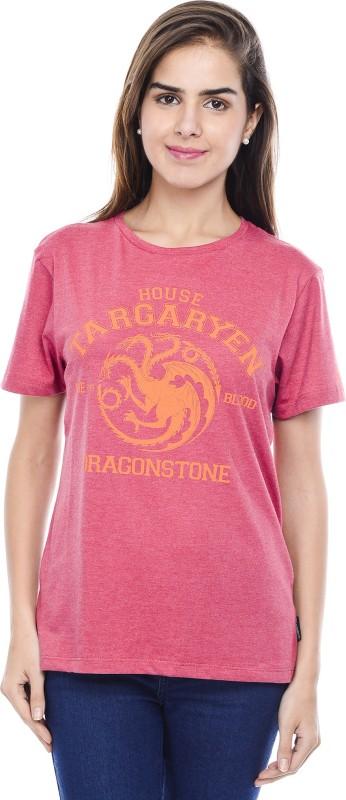 Game of Thrones Geometric Print Women's Round Neck Red T-Shirt