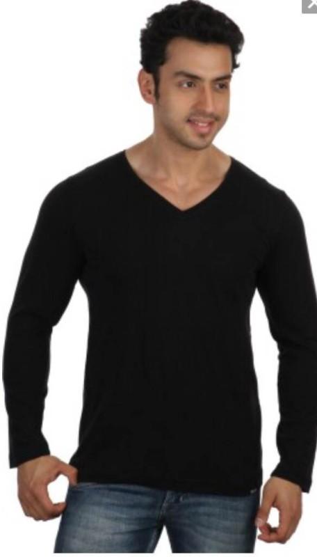 Smile By Nature Solid Men's V-neck Black T-Shirt