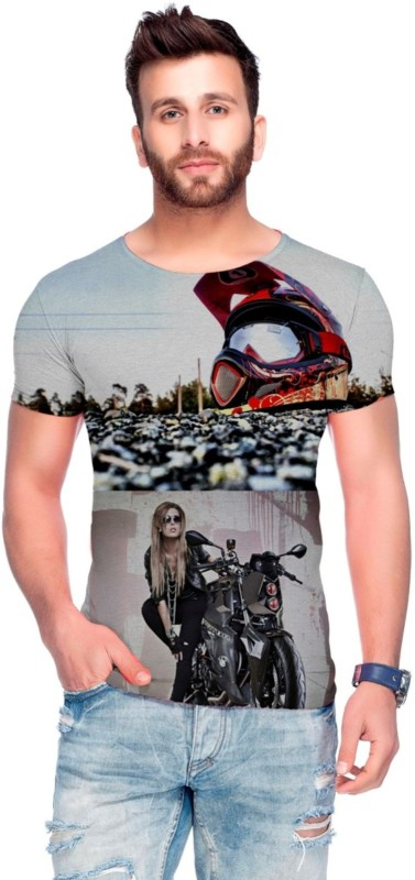 Raves Printed Men's Round Neck Multicolor T-Shirt
