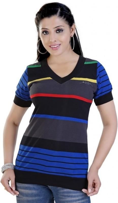 Mint Striped Women's V-neck Multicolor T-Shirt