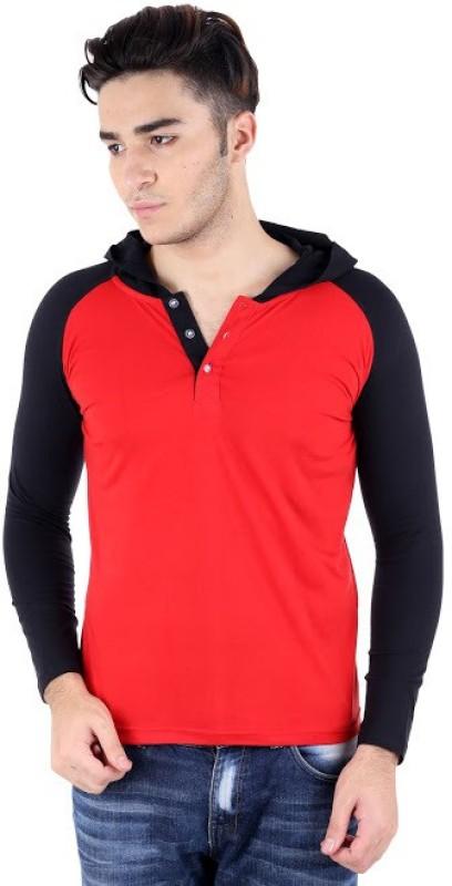 BigIdea Solid Men's Hooded Red, Black T-Shirt