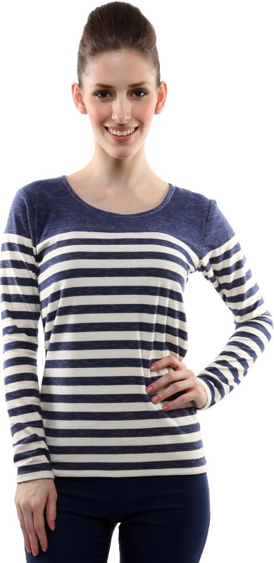 Miss Chase Casual Full Sleeve Striped Women Dark Blue Top